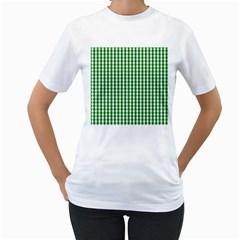 Christmas Green Velvet Large Gingham Check Plaid Pattern Women s T-Shirt (White) (Two Sided)