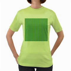 Christmas Green Velvet Large Gingham Check Plaid Pattern Women s Green T-Shirt