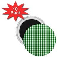 Christmas Green Velvet Large Gingham Check Plaid Pattern 1.75  Magnets (10 pack)