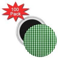 Christmas Green Velvet Large Gingham Check Plaid Pattern 1.75  Magnets (100 pack)