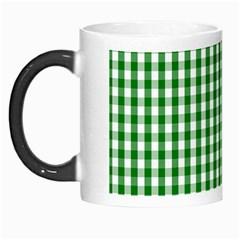 Christmas Green Velvet Large Gingham Check Plaid Pattern Morph Mugs