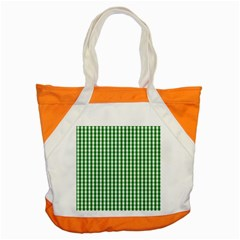 Christmas Green Velvet Large Gingham Check Plaid Pattern Accent Tote Bag