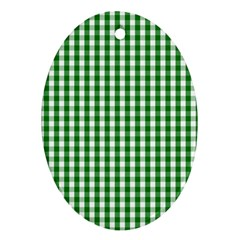 Christmas Green Velvet Large Gingham Check Plaid Pattern Oval Ornament (Two Sides)