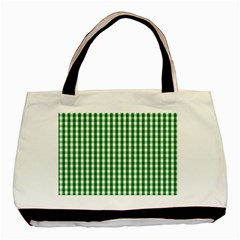 Christmas Green Velvet Large Gingham Check Plaid Pattern Basic Tote Bag (Two Sides)