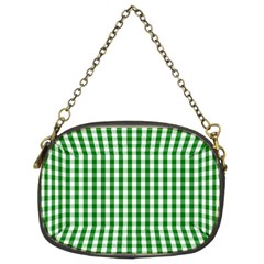 Christmas Green Velvet Large Gingham Check Plaid Pattern Chain Purses (Two Sides)