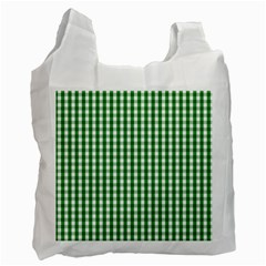 Christmas Green Velvet Large Gingham Check Plaid Pattern Recycle Bag (One Side)