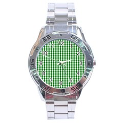 Christmas Green Velvet Large Gingham Check Plaid Pattern Stainless Steel Analogue Watch