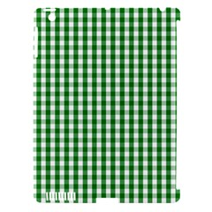 Christmas Green Velvet Large Gingham Check Plaid Pattern Apple iPad 3/4 Hardshell Case (Compatible with Smart Cover)