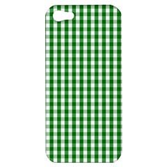 Christmas Green Velvet Large Gingham Check Plaid Pattern Apple iPhone 5 Hardshell Case