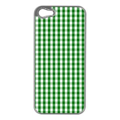 Christmas Green Velvet Large Gingham Check Plaid Pattern Apple iPhone 5 Case (Silver)