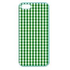 Christmas Green Velvet Large Gingham Check Plaid Pattern Apple Seamless iPhone 5 Case (Color)