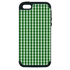 Christmas Green Velvet Large Gingham Check Plaid Pattern Apple iPhone 5 Hardshell Case (PC+Silicone)