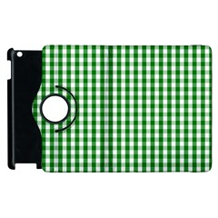 Christmas Green Velvet Large Gingham Check Plaid Pattern Apple iPad 2 Flip 360 Case