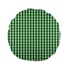 Christmas Green Velvet Large Gingham Check Plaid Pattern Standard 15  Premium Round Cushions