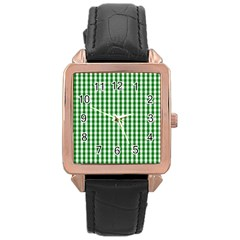 Christmas Green Velvet Large Gingham Check Plaid Pattern Rose Gold Leather Watch