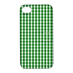 Christmas Green Velvet Large Gingham Check Plaid Pattern Apple iPhone 4/4S Hardshell Case with Stand