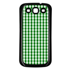 Christmas Green Velvet Large Gingham Check Plaid Pattern Samsung Galaxy S3 Back Case (Black)