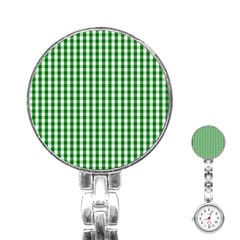 Christmas Green Velvet Large Gingham Check Plaid Pattern Stainless Steel Nurses Watch