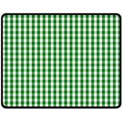 Christmas Green Velvet Large Gingham Check Plaid Pattern Double Sided Fleece Blanket (Medium)
