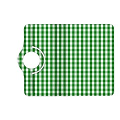 Christmas Green Velvet Large Gingham Check Plaid Pattern Kindle Fire HD (2013) Flip 360 Case