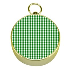 Christmas Green Velvet Large Gingham Check Plaid Pattern Gold Compasses