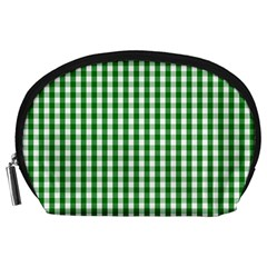 Christmas Green Velvet Large Gingham Check Plaid Pattern Accessory Pouches (Large)