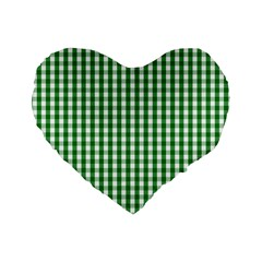 Christmas Green Velvet Large Gingham Check Plaid Pattern Standard 16  Premium Flano Heart Shape Cushions