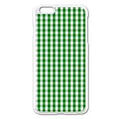 Christmas Green Velvet Large Gingham Check Plaid Pattern Apple iPhone 6 Plus/6S Plus Enamel White Case