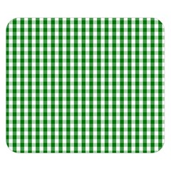 Christmas Green Velvet Large Gingham Check Plaid Pattern Double Sided Flano Blanket (Small)