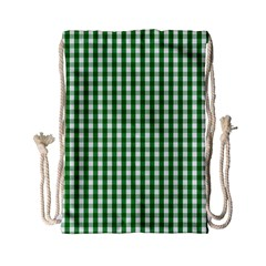 Christmas Green Velvet Large Gingham Check Plaid Pattern Drawstring Bag (Small)