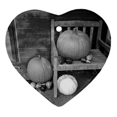 Pumpkind And Gourds Bw Ornament (Heart)