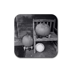 Pumpkind And Gourds Bw Rubber Square Coaster (4 pack)