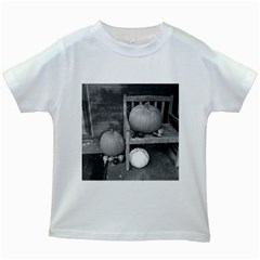 Pumpkind And Gourds Bw Kids White T-Shirts