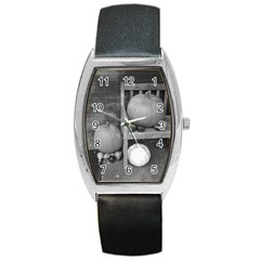 Pumpkind And Gourds Bw Barrel Style Metal Watch