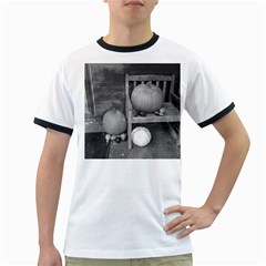 Pumpkind And Gourds Bw Ringer T-Shirts