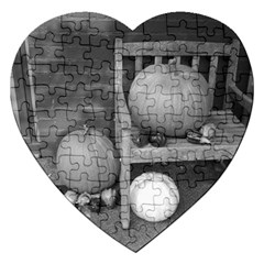 Pumpkind And Gourds Bw Jigsaw Puzzle (heart)