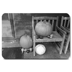 Pumpkind And Gourds Bw Large Doormat
