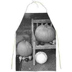 Pumpkind And Gourds Bw Full Print Aprons