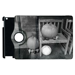 Pumpkind And Gourds Bw Apple iPad 3/4 Flip 360 Case