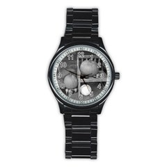 Pumpkind And Gourds Bw Stainless Steel Round Watch
