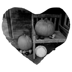Pumpkind And Gourds Bw Large 19  Premium Flano Heart Shape Cushions