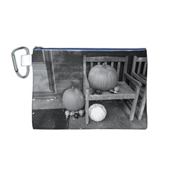 Pumpkind And Gourds Bw Canvas Cosmetic Bag (M)