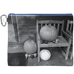Pumpkind And Gourds Bw Canvas Cosmetic Bag (XXXL)