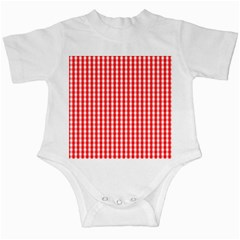 Christmas Red Velvet Large Gingham Check Plaid Pattern Infant Creepers