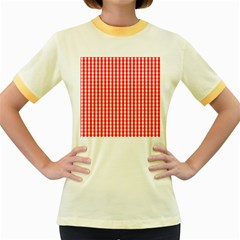 Christmas Red Velvet Large Gingham Check Plaid Pattern Women s Fitted Ringer T-Shirts