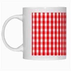 Christmas Red Velvet Large Gingham Check Plaid Pattern White Mugs