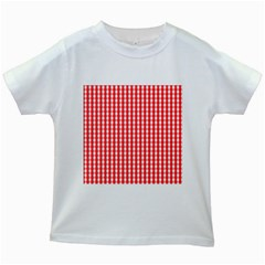 Christmas Red Velvet Large Gingham Check Plaid Pattern Kids White T-Shirts