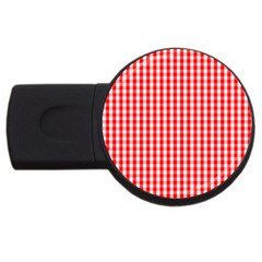 Christmas Red Velvet Large Gingham Check Plaid Pattern USB Flash Drive Round (2 GB)