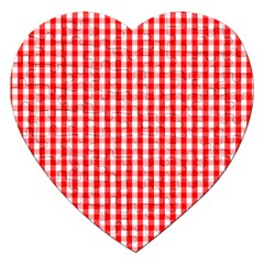 Christmas Red Velvet Large Gingham Check Plaid Pattern Jigsaw Puzzle (Heart)