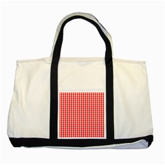 Christmas Red Velvet Large Gingham Check Plaid Pattern Two Tone Tote Bag